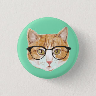 Cute Brown & White Cat Wearing Glasses 1 Inch Round Button
