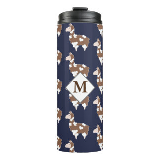 Cute Brown & White Spotted Llamas with Initial Thermal Tumbler
