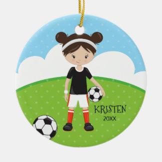 Cute Brunette Girl Soccer Personalized Christmas Ceramic Ornament