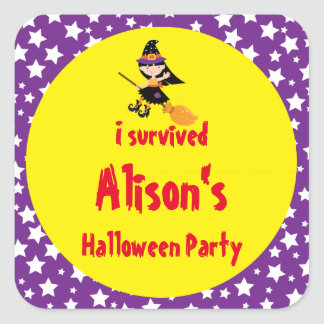 Cute Brunette Witch Halloween 'I Survived' Square Sticker