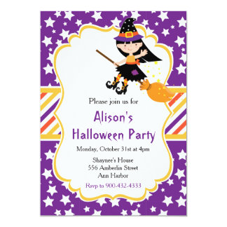 Cute Brunette Witch Halloween Party Card