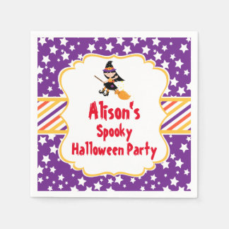 Cute Brunette Witch Halloween Party Disposable Napkin