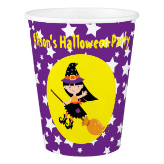 Cute Brunette Witch Halloween Party Paper Cup