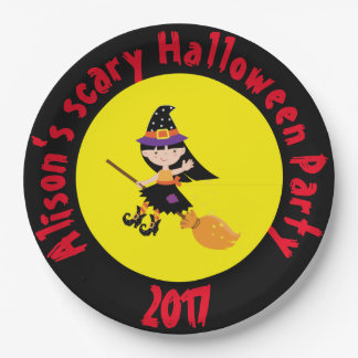Cute Brunette Witch Halloween Party Paper Plate