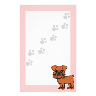 Cute Brussels Griffon Cartoon  - Pawprint Pink Personalized Stationery