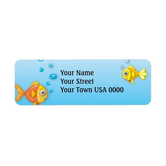 cute bubble fish underwater scene return address label