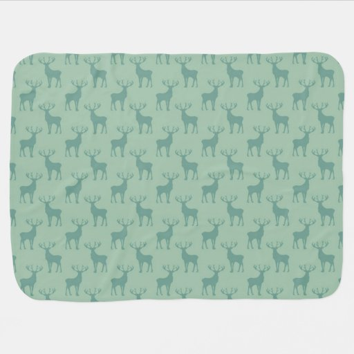 Cute Buck Deer Pattern in Sage Green Stroller Blankets