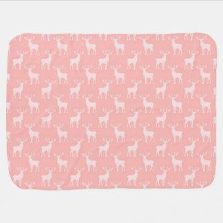 Cute Buck Deer Pattern in Soft Pink Baby Blanket