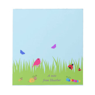 cute bugs and bird in grass with blue sky note pad