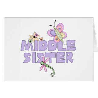 Cute Bugs Middle Sister Greeting Card