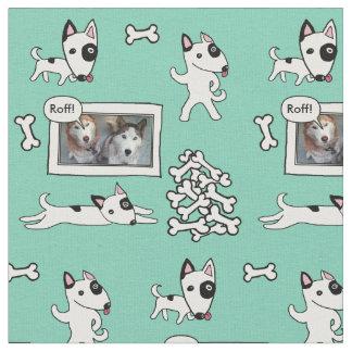 Cute Bull Terrier Cartoon Personalizealbe Fabric