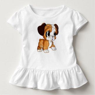 Cute Bulldog Art Toddler's White Ruffle Tee