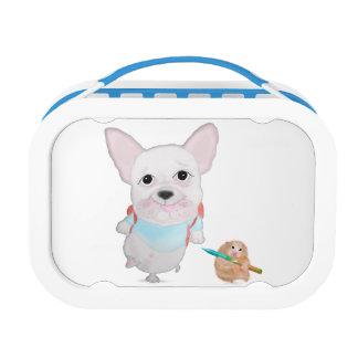 Cute Bulldog & Hamster Blue yubo Lunch Box. Lunchboxes