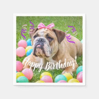 Cute Bulldog Happy Birthday Paper Napkins