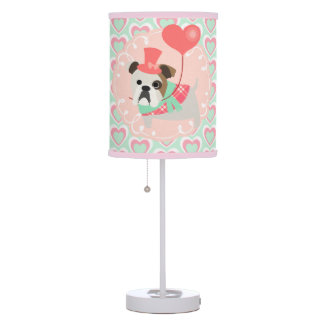 Cute BullDog I Love You Pink Mint Girly Hearts Table Lamp
