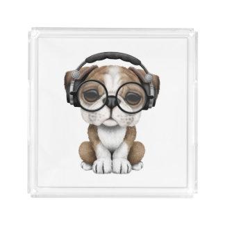 Cute Bulldog Puppy Dj Wearing Headphones Acrylic Tray