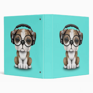 Cute Bulldog Puppy Dj Wearing Headphones Binder