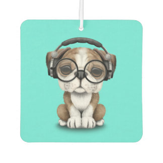 Cute Bulldog Puppy Dj Wearing Headphones Car Air Freshener
