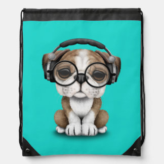 Cute Bulldog Puppy Dj Wearing Headphones Drawstring Bag