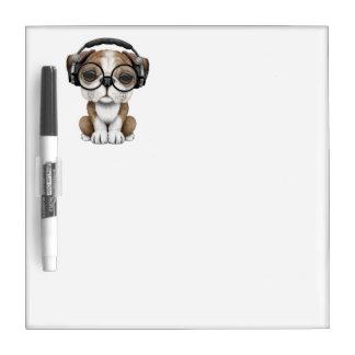 Cute Bulldog Puppy Dj Wearing Headphones Dry Erase Board