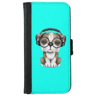 Cute Bulldog Puppy Dj Wearing Headphones iPhone 6 Wallet Case