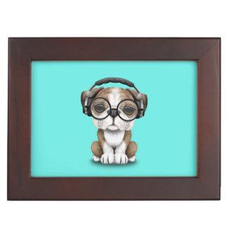 Cute Bulldog Puppy Dj Wearing Headphones Keepsake Box