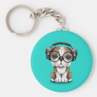 Cute Bulldog Puppy Dj Wearing Headphones Keychain