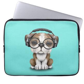 Cute Bulldog Puppy Dj Wearing Headphones Laptop Computer Sleeve