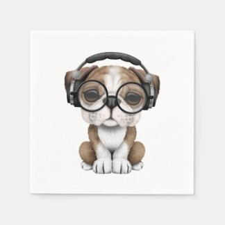 Cute Bulldog Puppy Dj Wearing Headphones Paper Napkin