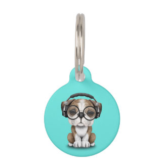 Cute Bulldog Puppy Dj Wearing Headphones Pet Name Tag