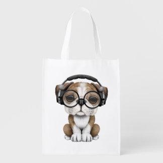 Cute Bulldog Puppy Dj Wearing Headphones Reusable Grocery Bag