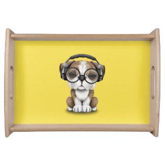 Cute Bulldog Puppy Dj Wearing Headphones Serving Tray