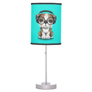 Cute Bulldog Puppy Dj Wearing Headphones Table Lamp