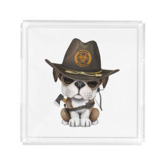 Cute Bulldog Puppy Zombie Hunter Acrylic Tray