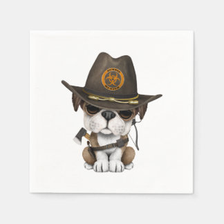 Cute Bulldog Puppy Zombie Hunter Disposable Napkin