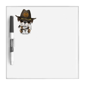 Cute Bulldog Puppy Zombie Hunter Dry Erase Board
