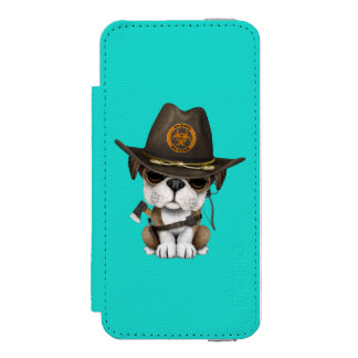 Cute Bulldog Puppy Zombie Hunter Incipio Watson™ iPhone 5 Wallet Case