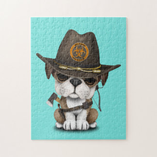 Cute Bulldog Puppy Zombie Hunter Jigsaw Puzzle