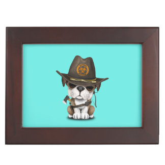 Cute Bulldog Puppy Zombie Hunter Keepsake Box
