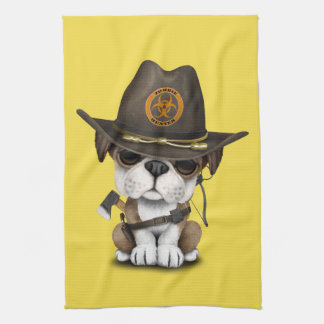 Cute Bulldog Puppy Zombie Hunter Kitchen Towel