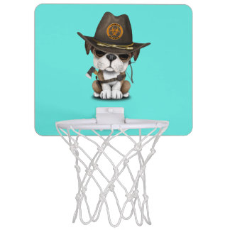 Cute Bulldog Puppy Zombie Hunter Mini Basketball Hoop