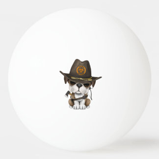 Cute Bulldog Puppy Zombie Hunter Ping Pong Ball