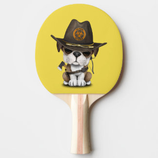 Cute Bulldog Puppy Zombie Hunter Ping Pong Paddle