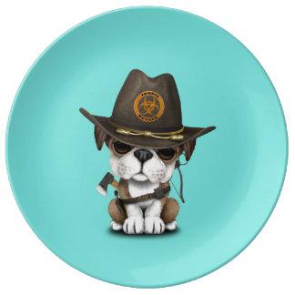 Cute Bulldog Puppy Zombie Hunter Plate