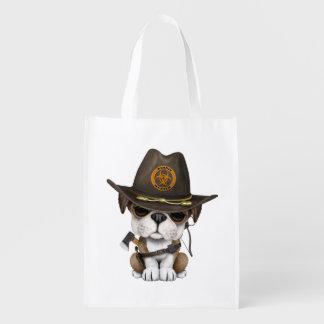 Cute Bulldog Puppy Zombie Hunter Reusable Grocery Bag