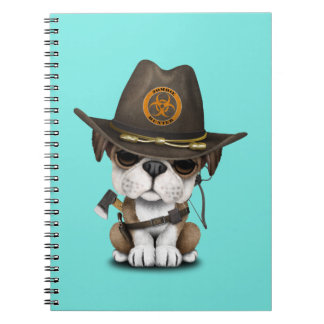 Cute Bulldog Puppy Zombie Hunter Spiral Notebook