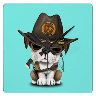 Cute Bulldog Puppy Zombie Hunter Square Wall Clock