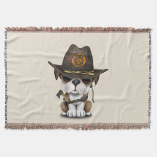 Cute Bulldog Puppy Zombie Hunter Throw Blanket