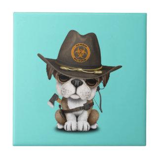 Cute Bulldog Puppy Zombie Hunter Tile