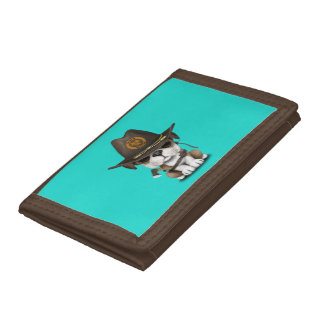 Cute Bulldog Puppy Zombie Hunter Tri-fold Wallet